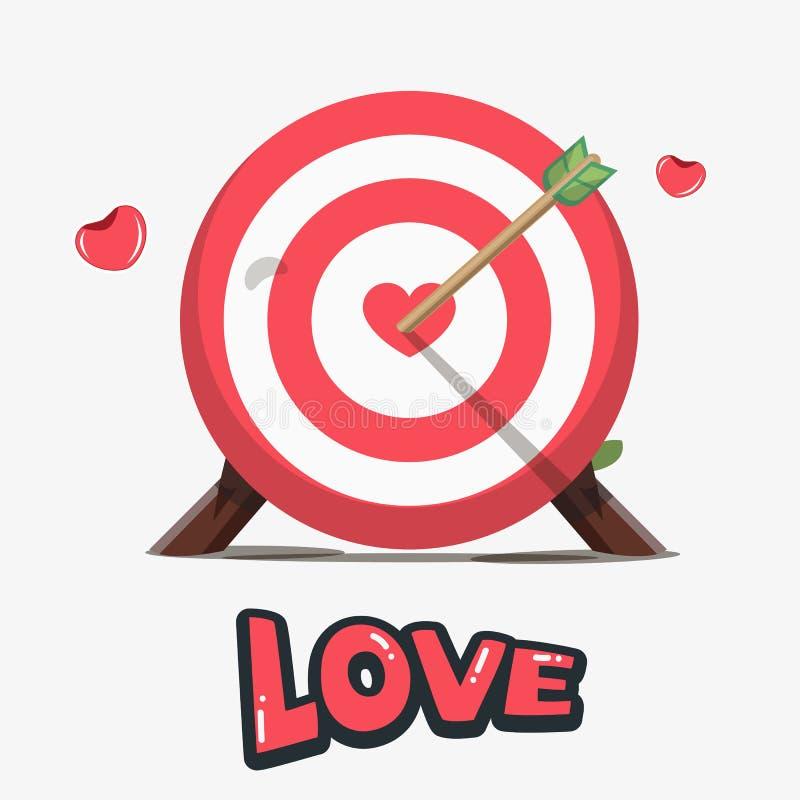 Bordo di dardi con cuore rosso nel centro Concetto dell'obiettivo di amore royalty illustrazione gratis