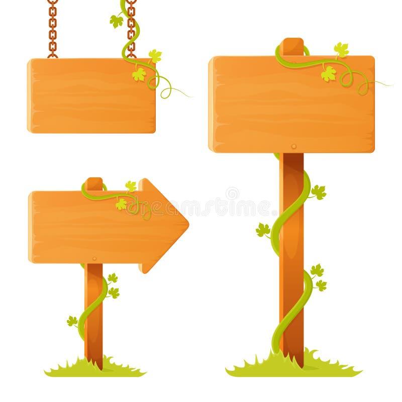 Bordo di legno in bianco del segno con i viticci decorativi royalty illustrazione gratis