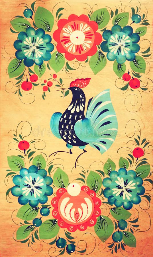 Bordo di legno decorativo russo tradizionale Pittura con l'ornamento del pavone e floreale royalty illustrazione gratis