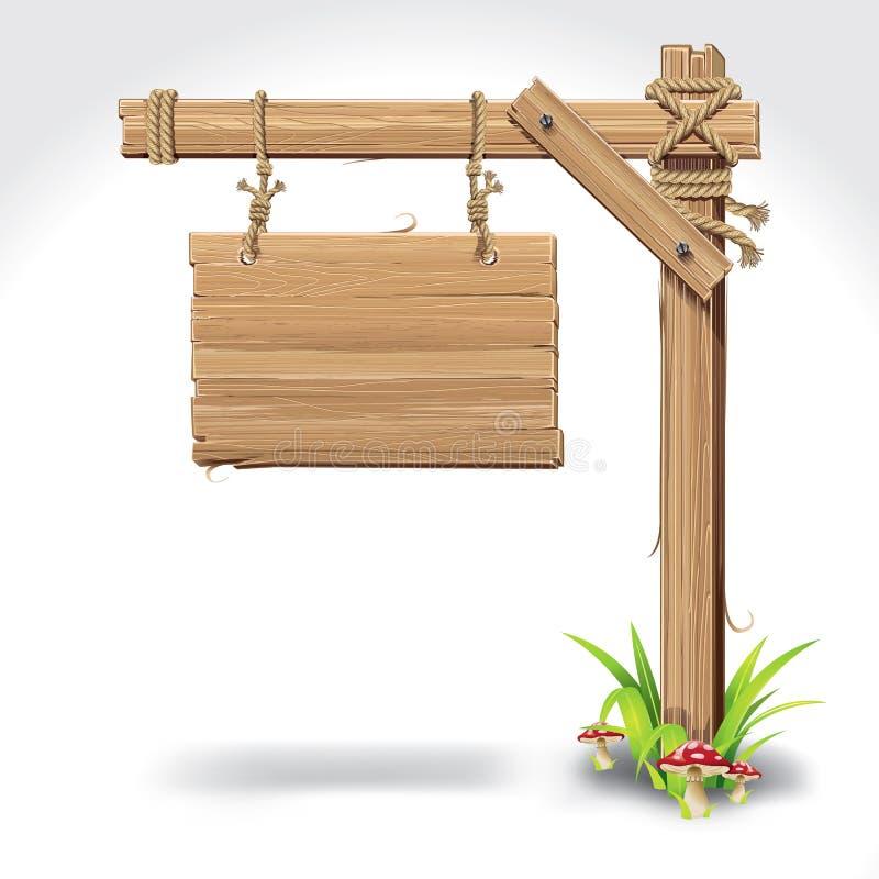 Bordo di legno del segno che appende con la corda su un'erba. illustrazione di stock