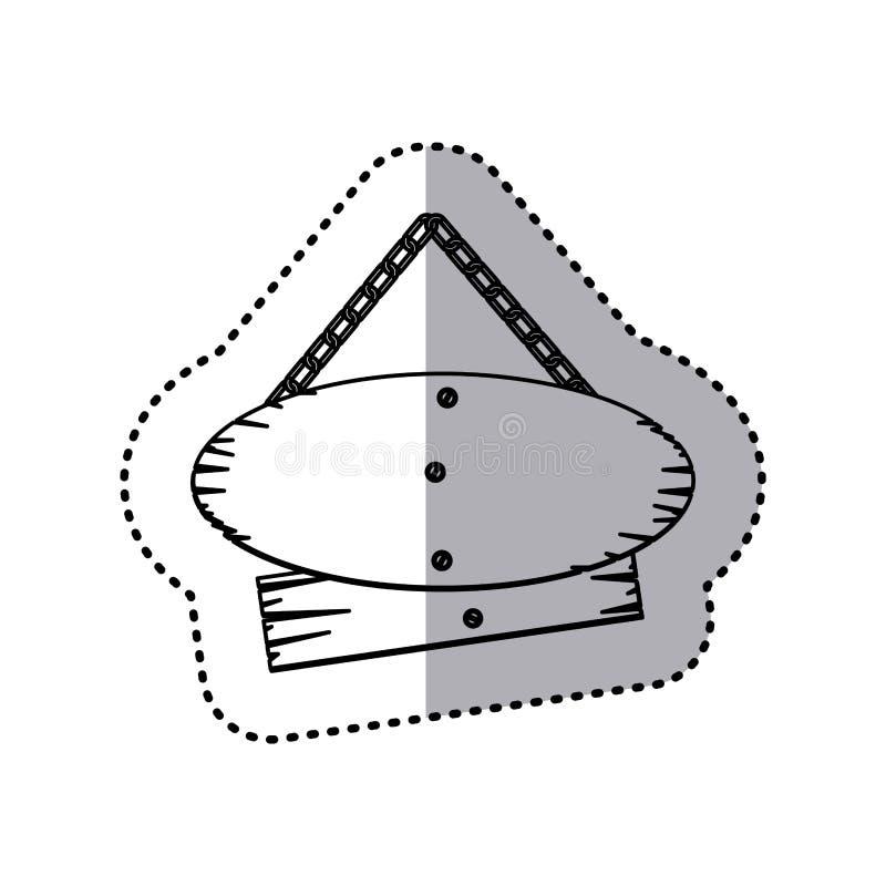 bordo di legno del segno dei pezzi di paia della siluetta dell'autoadesivo con le catene royalty illustrazione gratis