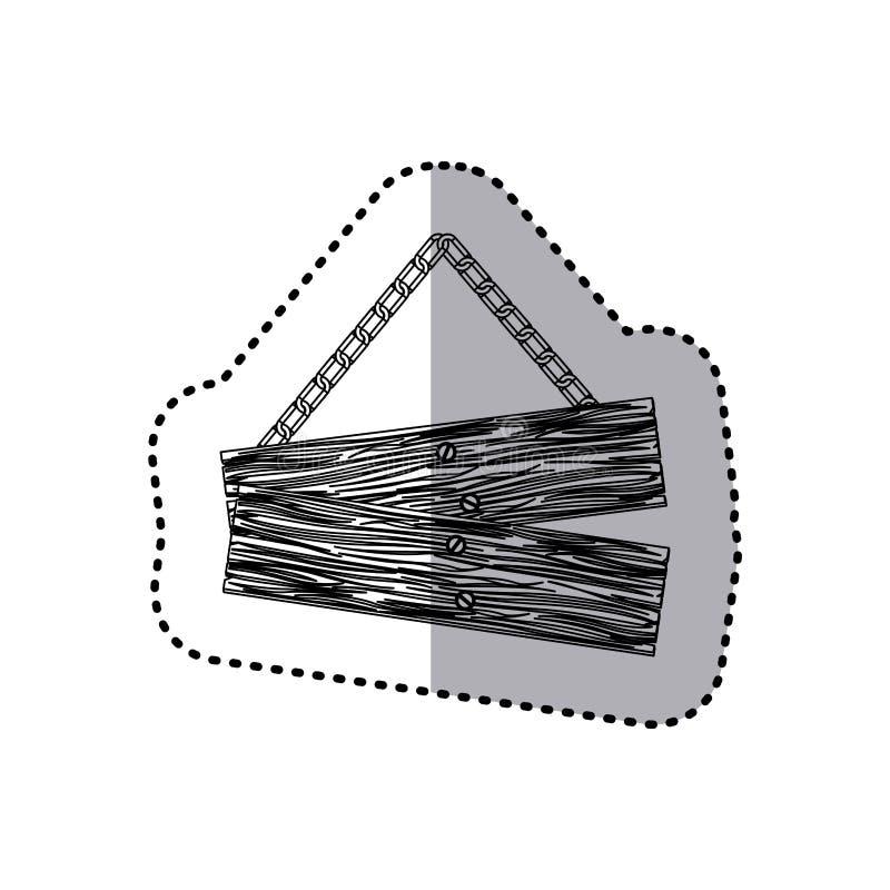 bordo di legno del segno dei pezzi monocromatici di paia dell'autoadesivo con le catene illustrazione vettoriale