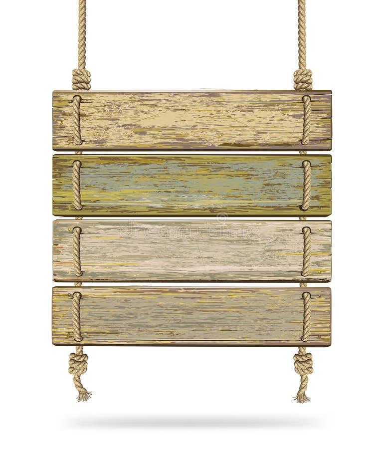 Bordo di legno di vecchio colore con la corda. illustrazione vettoriale