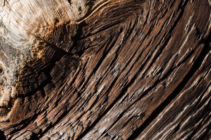 bordo di legno marrone con i graffi e le crepe profonde fotografia stock