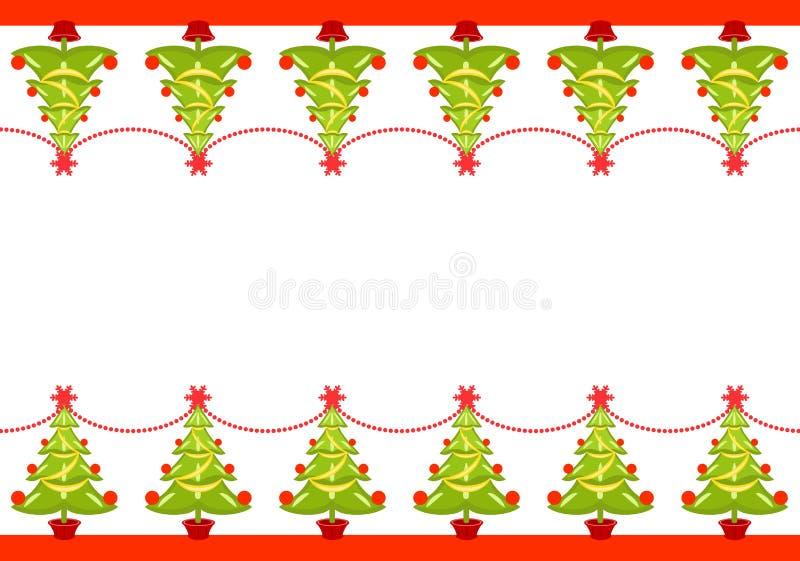 Bordo di natale con gli alberi decorati illustrazione di stock