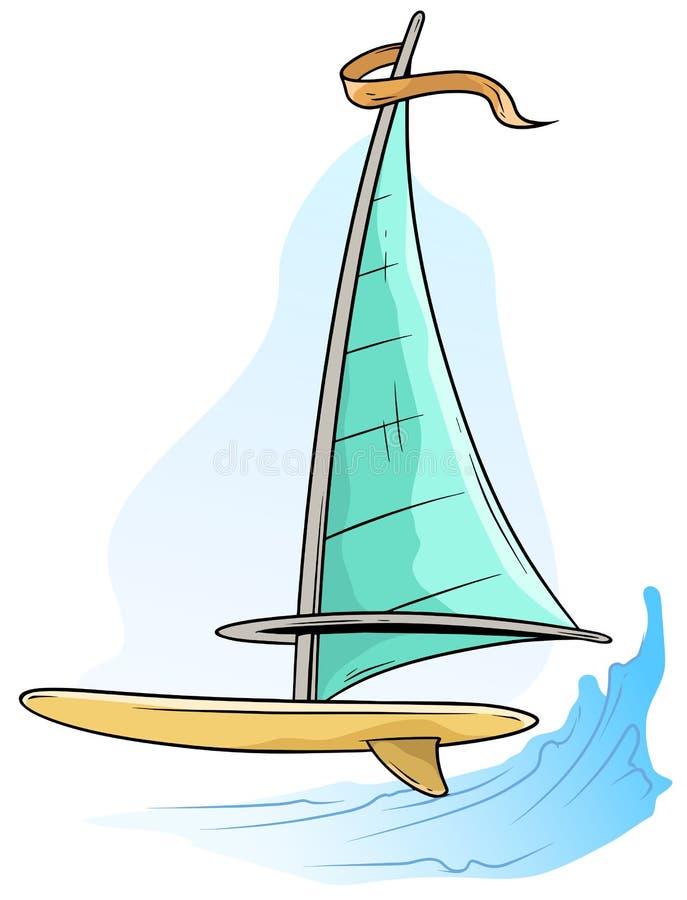 Bordo di windsurf del fumetto con la vela e la bandiera blu illustrazione di stock