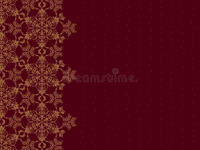 Bordo dorato del fiocco di neve illustrazione di stock