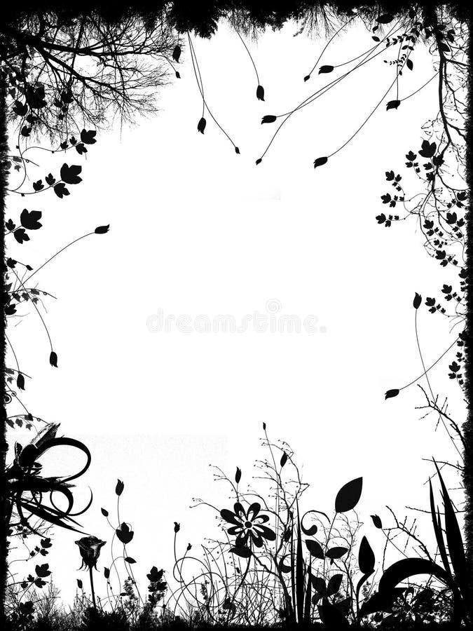 Bordo e blocco per grafici floreali illustrazione vettoriale