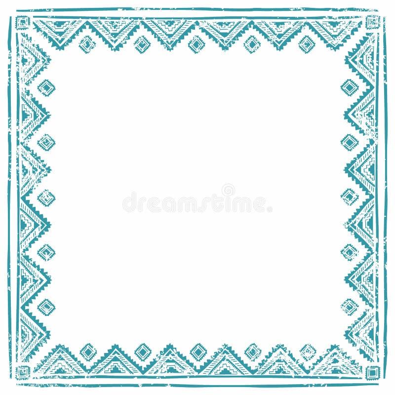 Bordo etnico del blocco per grafici Spazio vuoto per il vostro testo Manifesto dell'annata illustrazione di stock