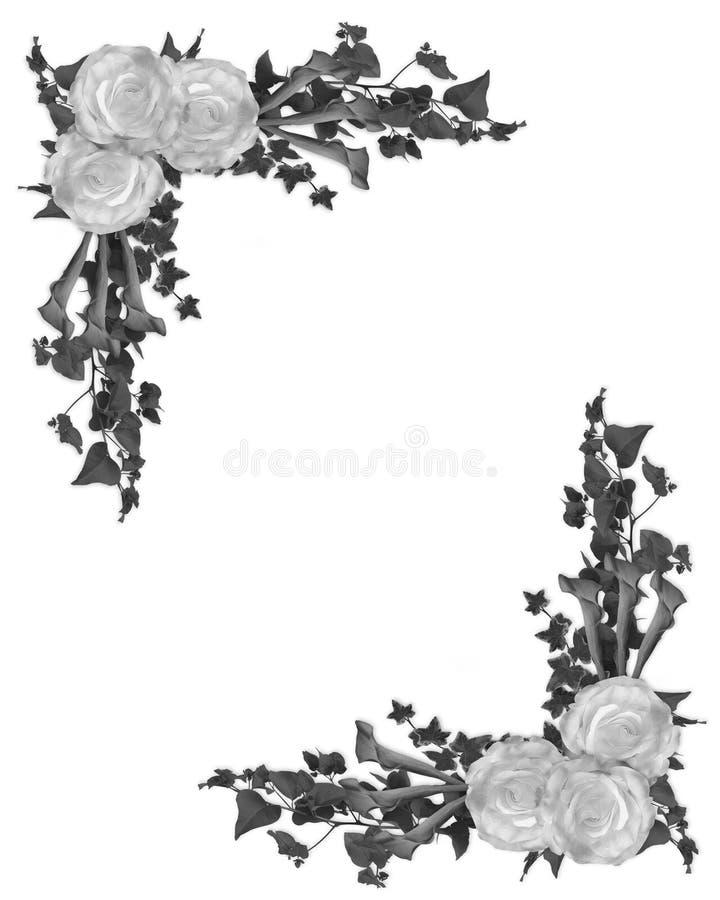 Bordo floreale in bianco e nero illustrazione vettoriale