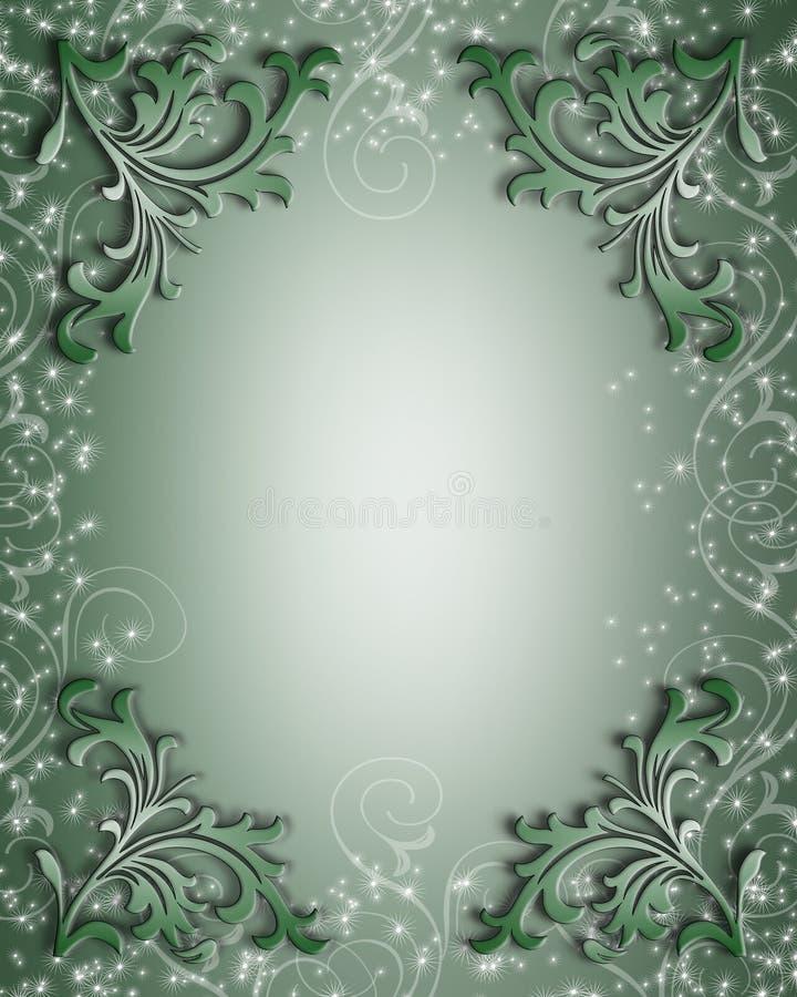 Bordo floreale scintillante verde illustrazione vettoriale