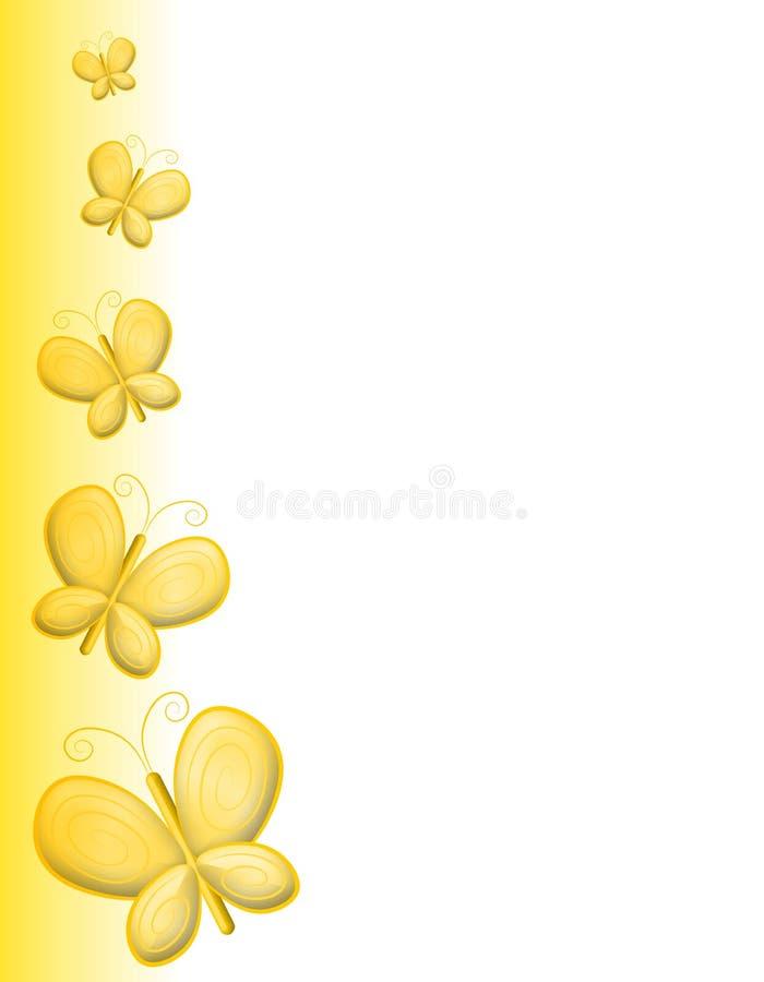 Bordo giallo della pagina della farfalla illustrazione vettoriale