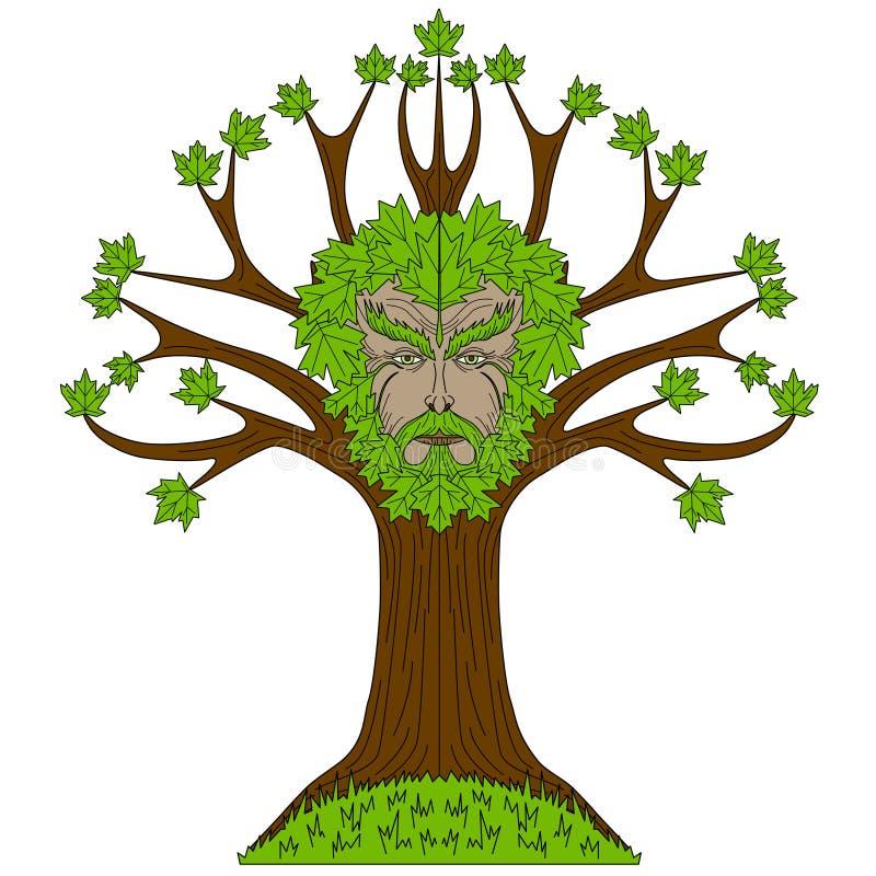 Bordo Greenman na árvore ilustração stock