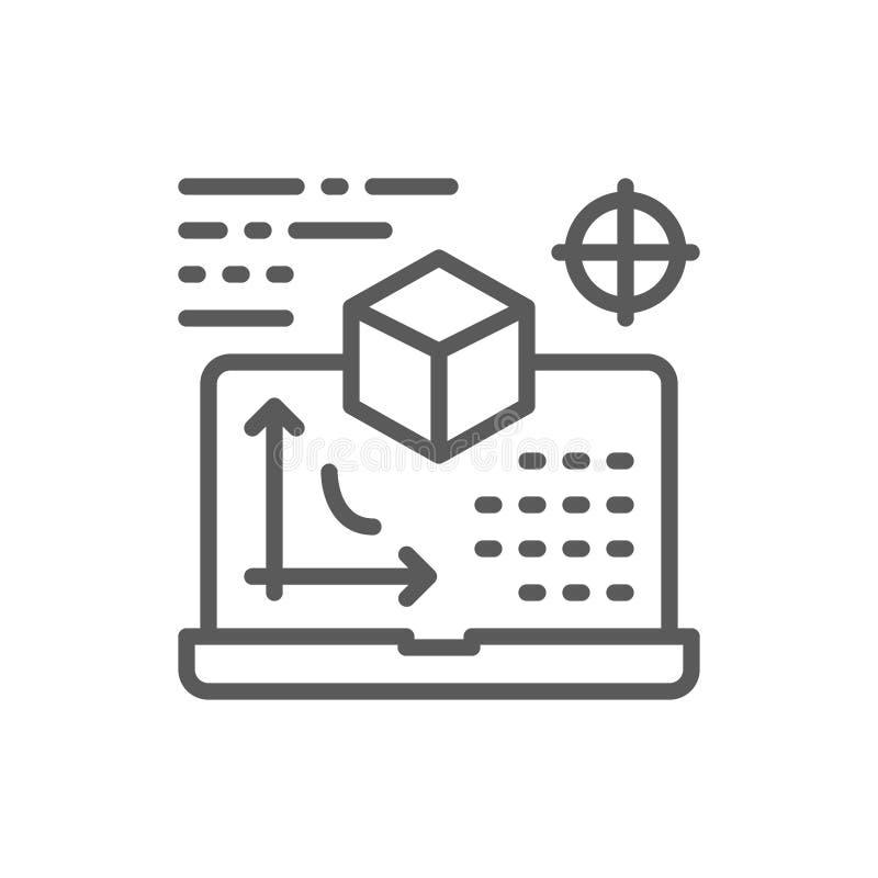 Bordo interattivo, presentazione, linea icona di progetto illustrazione di stock