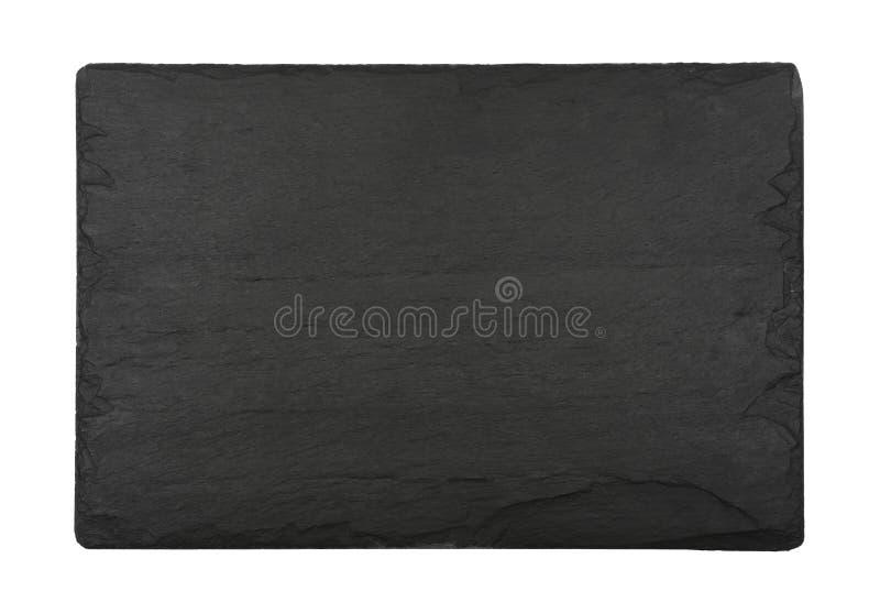 Bordo nero dell'ardesia isolato su bianco immagine stock libera da diritti