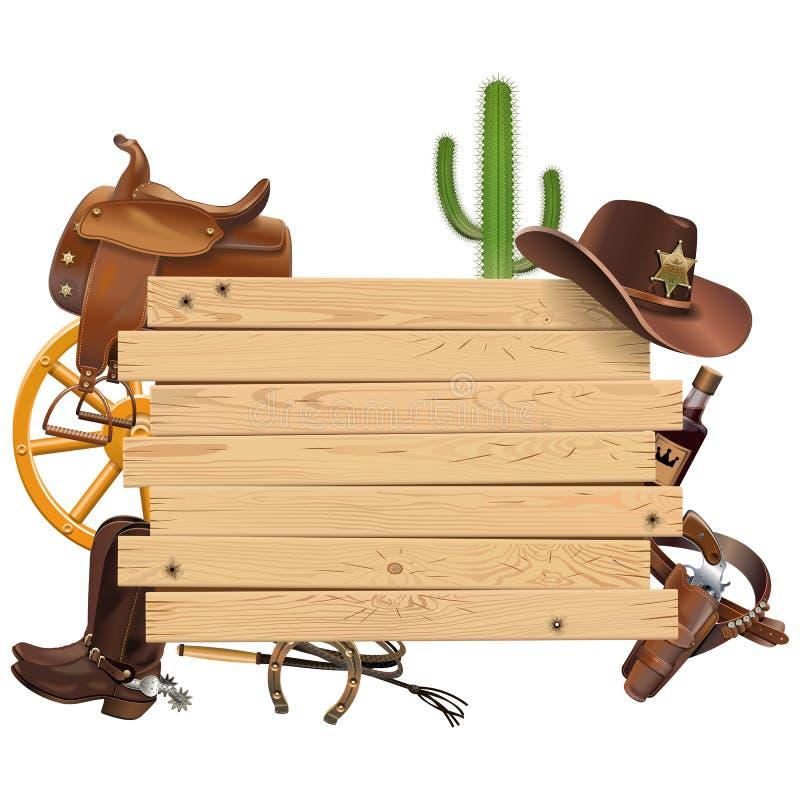 Bordo occidentale di vettore con il cowboy Accessories royalty illustrazione gratis