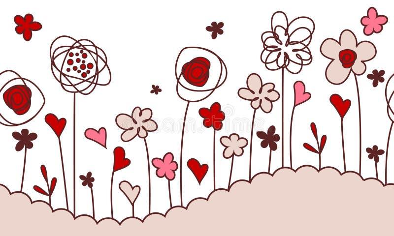 Bordo orizzontale senza giunte con i fiori stilizzati illustrazione di stock