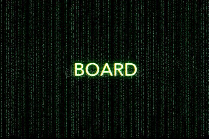 Bordo, parola chiave della mischia, su un fondo verde della matrice fotografie stock