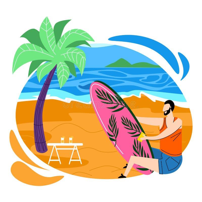 Bordo praticante il surfing di lucidatura del surfista dell'uomo su Sandy Beach illustrazione vettoriale