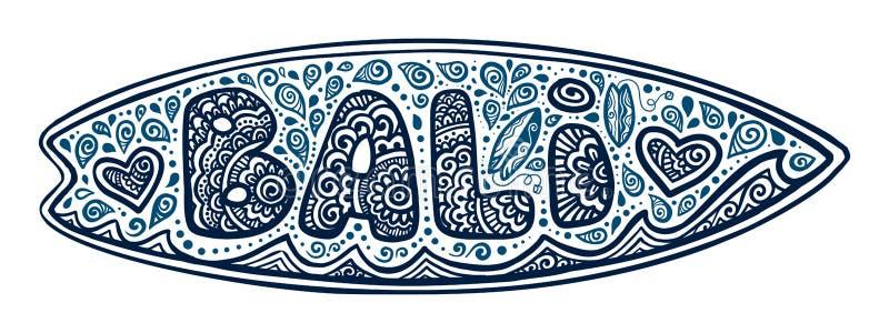 Bordo praticante il surfing di scarabocchio di vettore blu scuro di stile con il segno, le onde ed i cuori di Bali isolati su fon illustrazione vettoriale