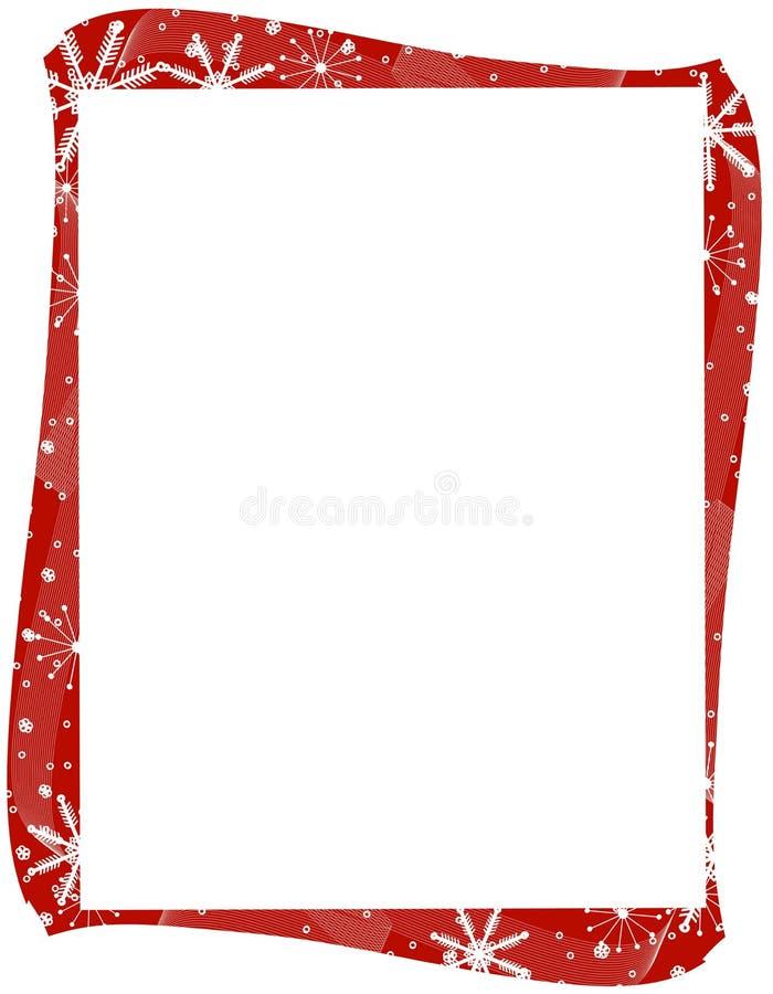 Bordo rosso dei fiocchi di neve di natale royalty illustrazione gratis