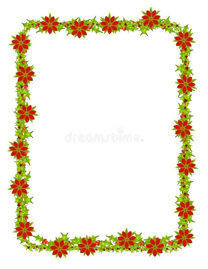 Bordo rosso del Poinsettia illustrazione di stock
