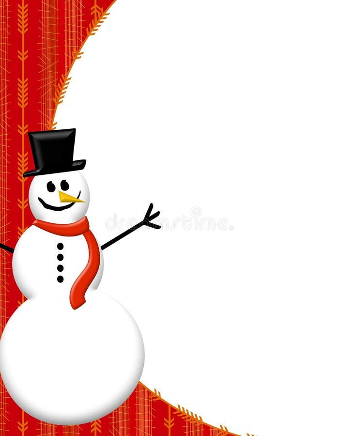 Bordo rosso del pupazzo di neve illustrazione vettoriale