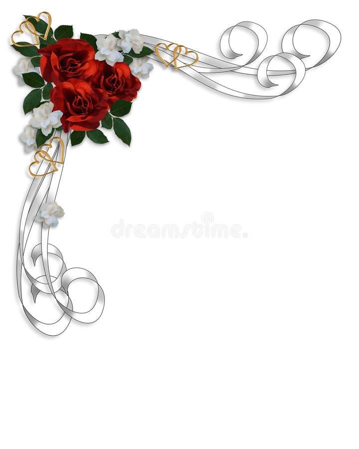 Bordo rosso delle rose dell'invito di cerimonia nuziale royalty illustrazione gratis