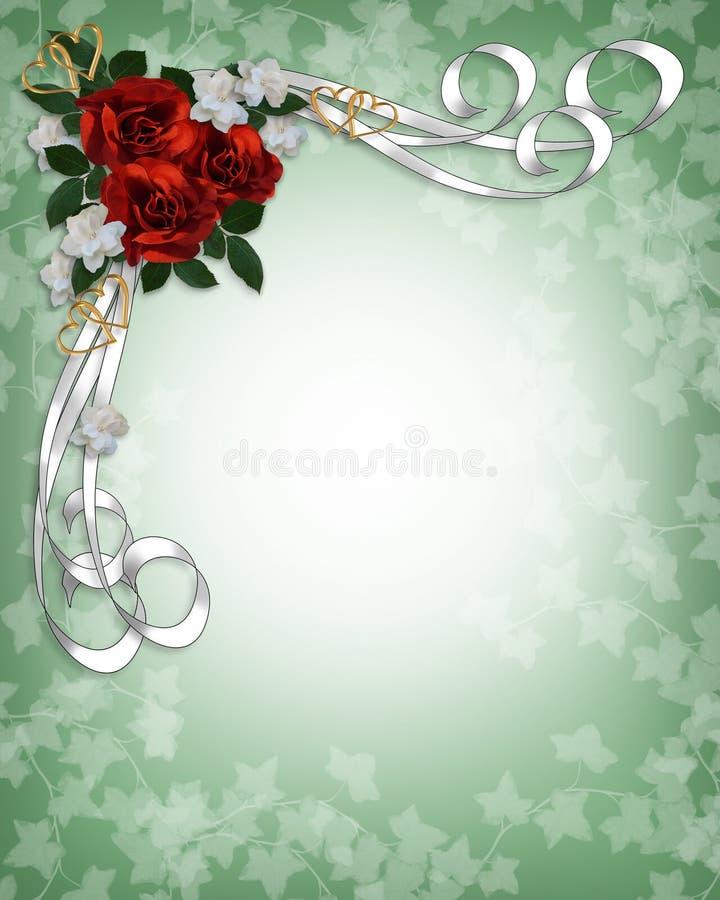 Bordo rosso delle rose dell'invito di cerimonia nuziale illustrazione vettoriale