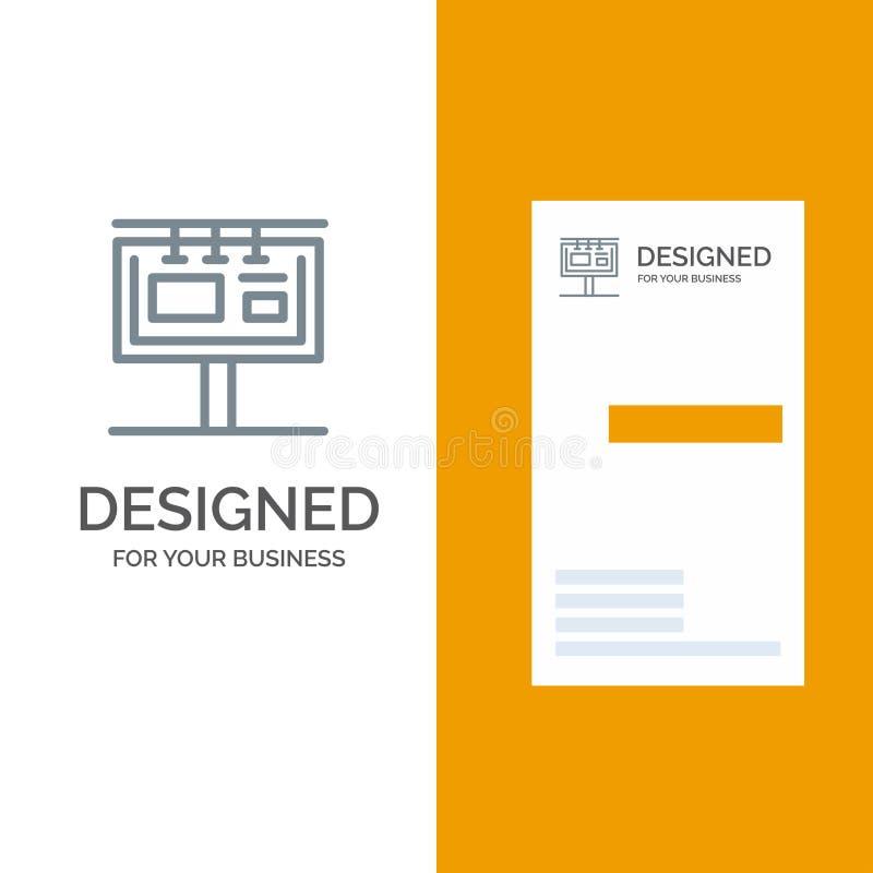 Bordo, tabellone per le affissioni, insegna, pubblicità, Grey Logo Design marcante a caldo e modello del biglietto da visita illustrazione di stock