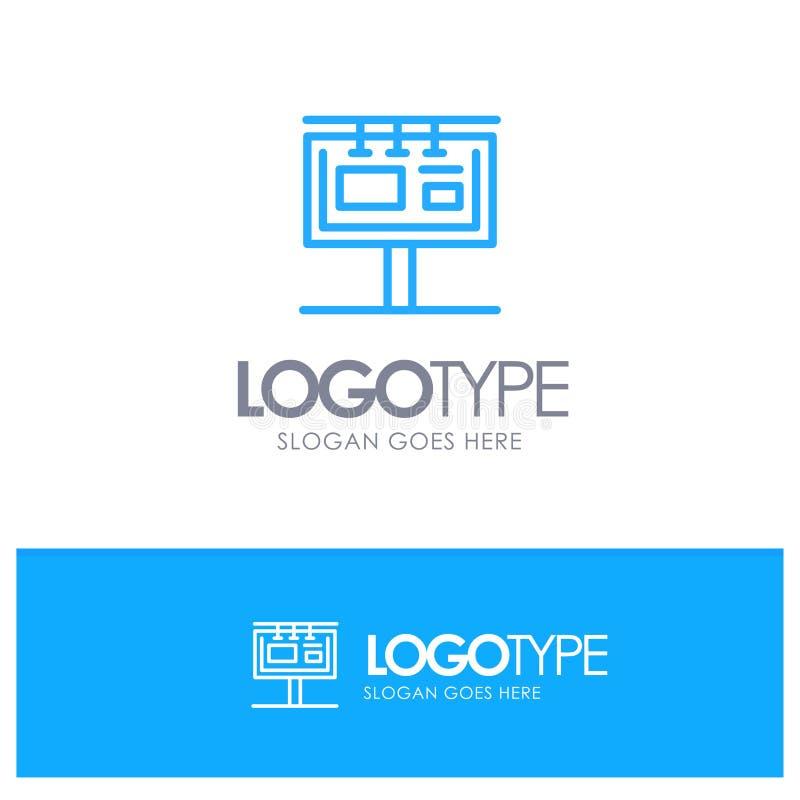 Bordo, tabellone per le affissioni, insegna, pubblicità, logo blu marcante a caldo del profilo con il posto per il tagline royalty illustrazione gratis
