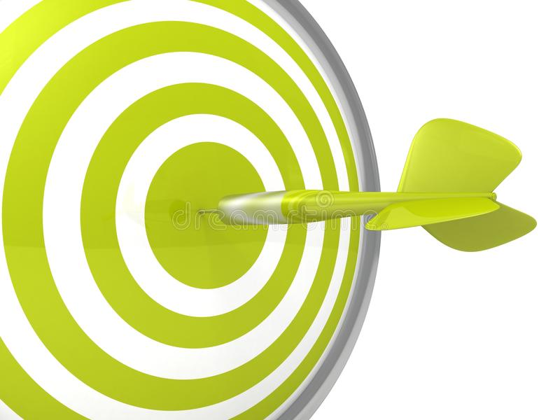 Bordo verde concettuale dell'obiettivo del dardo con una freccia nel centro royalty illustrazione gratis