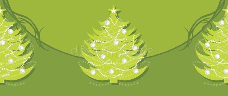Bordo verde decorativo con l'albero di abete di natale illustrazione vettoriale