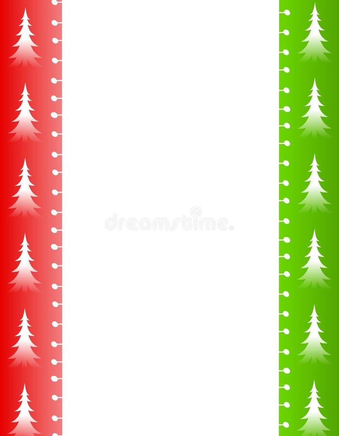Bordo verde rosso degli alberi di Natale illustrazione di stock
