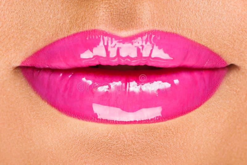 bordos bonitos com batom lustroso cor-de-rosa imagens de stock