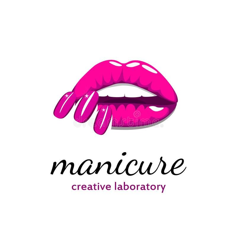 Bordos bonitos da menina com os pregos cor-de-rosa brilhantes do tratamento de mãos Logotipo da beleza, bandeira, cartaz Ilustraç ilustração stock
