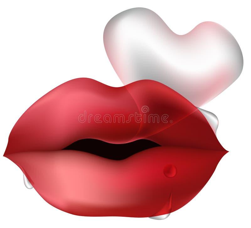 Bordos com bolha dada forma coração ilustração stock