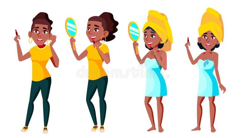 Bordos das pinturas da moça em Front Of Mirror Vetora Ilustração isolada ilustração royalty free
