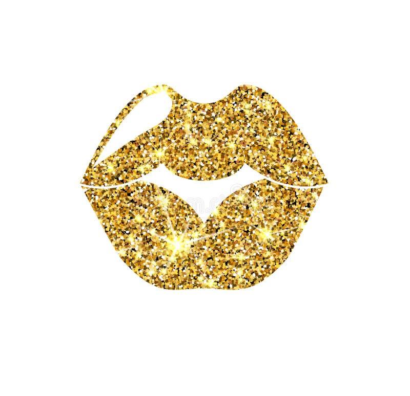 Bordos do vetor do brilho do ouro Beijo dourado da faísca ilustração do vetor