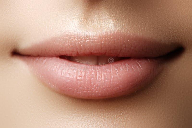 Bordos perfeitos Fim 'sexy' da boca da menina acima Sorriso da mulher nova da beleza imagens de stock