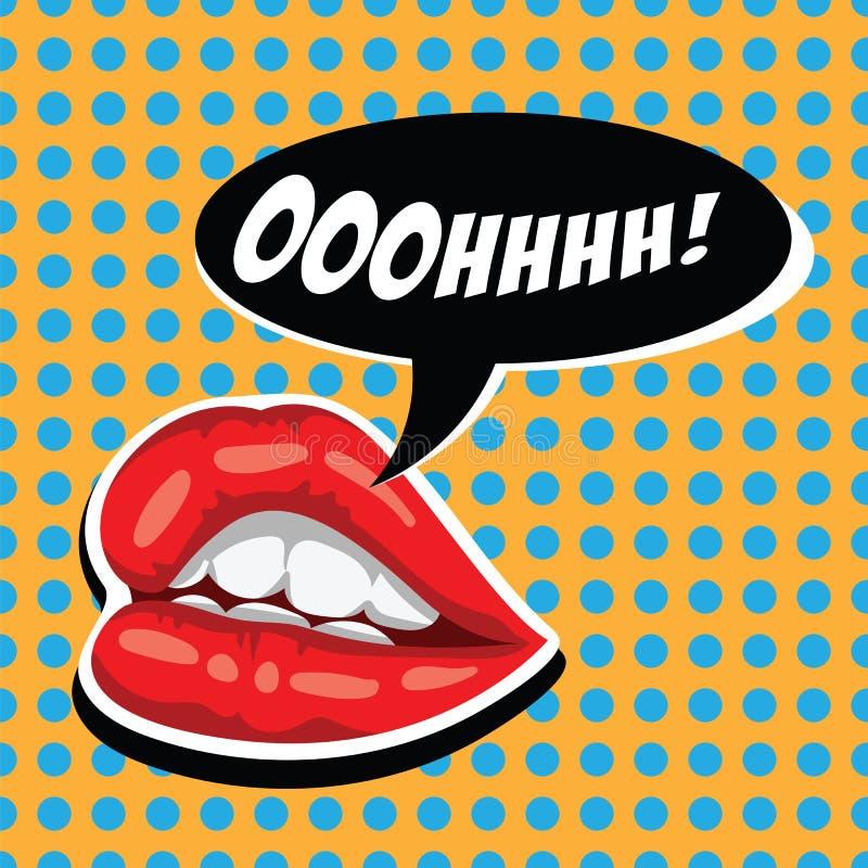Bordos vermelhos da mulher e bolha cômica do discurso Boca fêmea com bolha do discurso Bordos atrativos da menina e boca aberta a ilustração royalty free