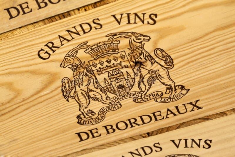 Bordoska wino etykietka obrazy stock