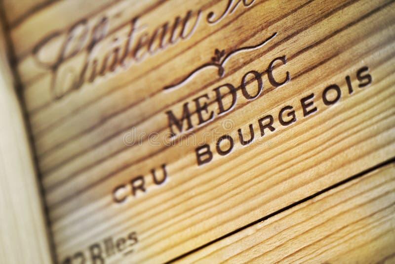 Bordoskiego wina drewniany pudełko fotografia royalty free