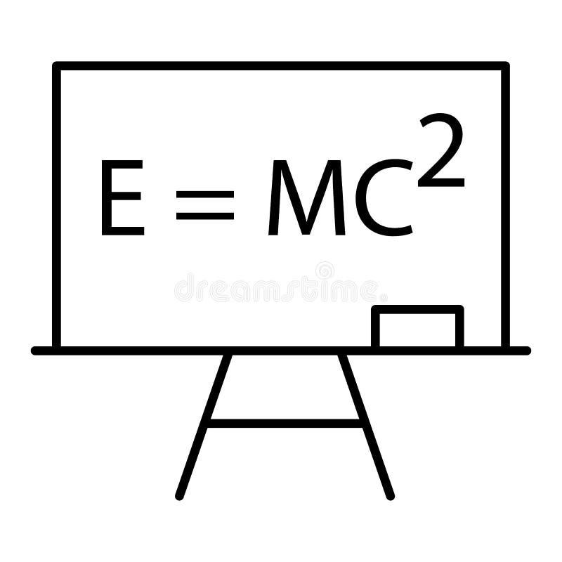 Bordpictogram in dunne overzichtsstijl De wiskunde van de de universiteitsfysica van de onderwijsschool vector illustratie