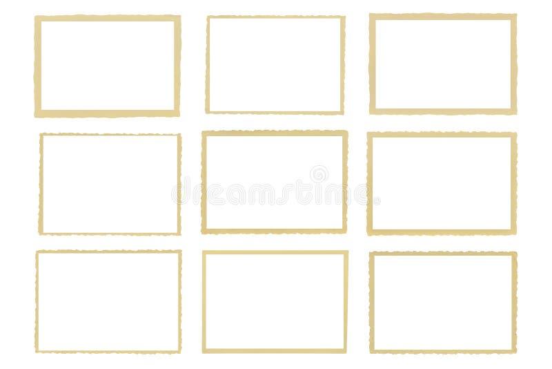 Bords déchiquetés de vieilles photos de sépia illustration stock
