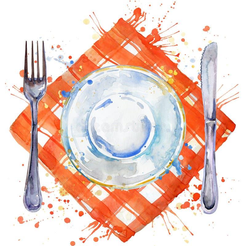 Bordsservis, bestick, plattor för mat, gaffel, tabellkniv och en torkdukeservett vattenfärgbakgrundsillustration vektor illustrationer