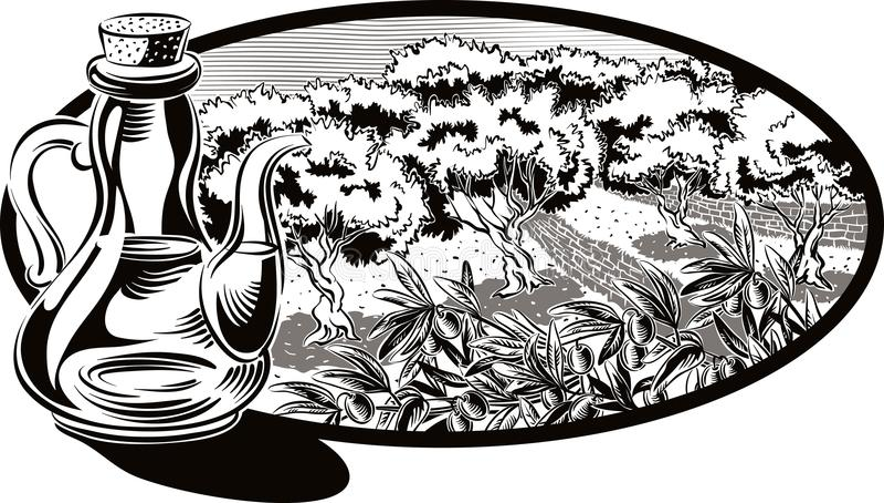 Bordställ med olivolja och inom en oval ram en olivgrön dunge royaltyfri illustrationer