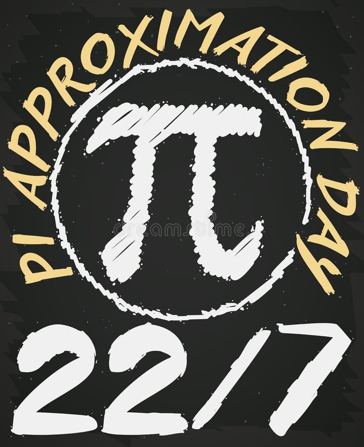 Bordtekening in Wiskundeklasse voor Pi-Benaderingsdag, Vectorillustratie royalty-vrije illustratie