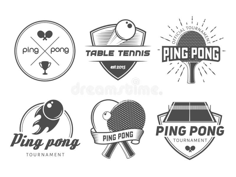 Bordtennislogoer stock illustrationer