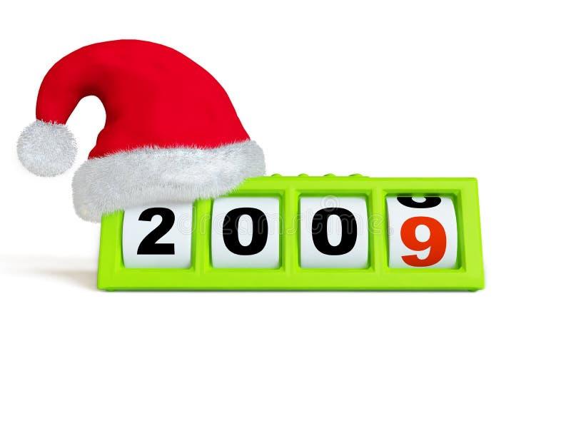 Borduhr des neuen Jahres u. des Weihnachten stock abbildung